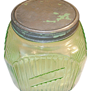 Depression Green Glass Storage Jar