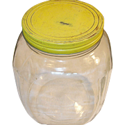 "Vintage 1930""s Anchor Hocking Glass Storage Jar Yellow Tin Lid"
