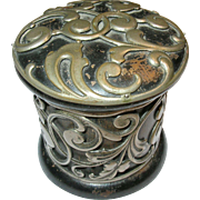 Antique Lacquer Cut Silver Work Box 19th Century
