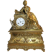 Antique Bronze Mantel Clock European 1850's