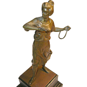 Vintage Bronze Sculpture on Wooden Pedestal
