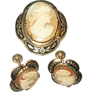Vintage Shell Cameo Brooch / Earring set