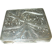 Vintage Sterling Compact Hand Chased Design