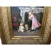 Antique French Oil Painting by R. Dufour Interior Scene with Children