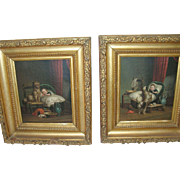 Antique 19th Pair Oil Paintings Child with his Dog
