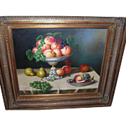 Vintage Oil on Canvas Still Life by J. Nodrik