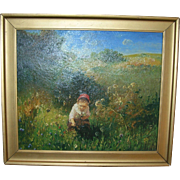 Oil On Canvas Girl Picking Wildflowers Signed