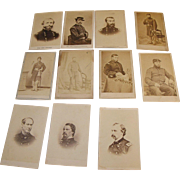 Civil War Carte de Visite Generals & Lieutenants of New York Regiments Sheridan, Custer, Farrigut, Hancock, Thomas 11 pcs