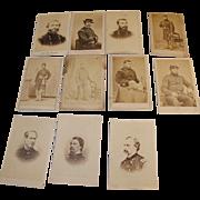Civil War Carte de Visite Generals & Lieutenants of New York Regiments Sheridan, Custer, Farrigut, Hancock, Thomas 11 pcs