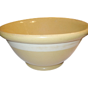 "Vintage Yellow Ware Mixing Bowl White Bowl 14"" Diam"