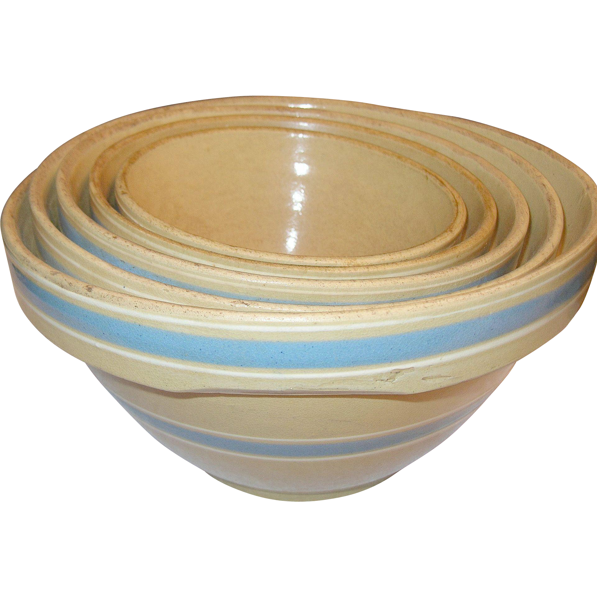 Vintage Yellow Ware Mixing Bowls Set of 5 Blue / White ...