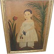 Vintage Folk Art Painting of a Young Girl