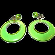 Vintage Apple Green Lucite Drop Earrings