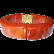 Vintage Bakelite Hinged Bangle Marbleized Orange