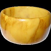 Vintage Bakelite Wide Bangle Marbleized Butterscotch