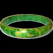 Vintage Bakelite End of Day Bangle Green / Yellow