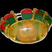 Vintage Bakelite Expandable Bracelet Apple Juice Red/Green Links