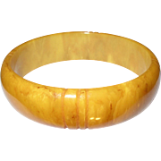 Vintage Bakelite Bangle Marbleized Yellow