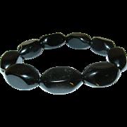 Vintage Lucite Black Bead Expandable Bracelet
