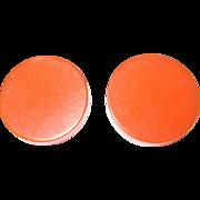 Vintage Bakelite Earrings Orange Disks