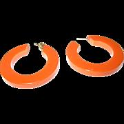 Vintage Bakelite Hoop Earrings Pumpkin Orange