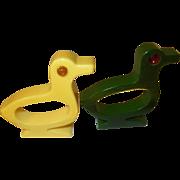 Vintage Bakelite Napkin Rings Duck Design