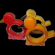 Vintage Bakelite Napkin Rings Bird Design 3