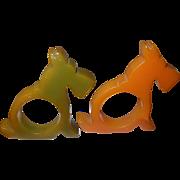 Vintage Bakelite Napkin Rings Terriers