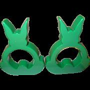 Vintage Bakelite Napkin Ring Rabbits Turquoise Green