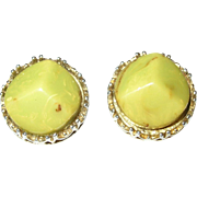 Vintage Bakelite Earrings Marbleized Lime Green