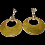 Vintage Bakelite Drop Earrings Marbleized Green