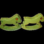 Vintage Bakelite Napkin Rings Rocking Horses