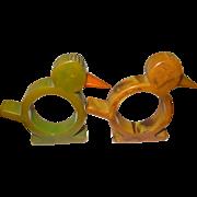 Vintage Bakelite Napkin Rings Birds