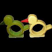 Vintage Bakelite Napkin Rings Bird Design