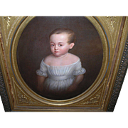 Oil on Canvas Child Portrait 1820's