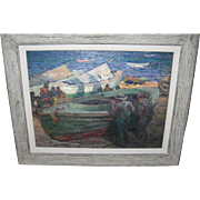 Impressionist Oil Painting Seaside Fishermen / Boats