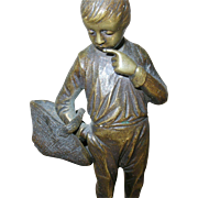 Vintage Bronze Sculpture Boy with Basket by Beck