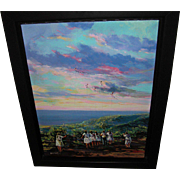 Wichie Torres Oil on Canvas Group of Puerto Girls and Men Flying Kites