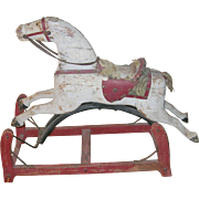 Antique Wooden Rocking Horse 1890's