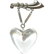 Vintage Lucite Heart Brooch Sterling Mounting