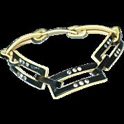 Vintage Link Bracelet Lucite / Rhinestones