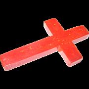Bakelite Brooch Marbleized Cross