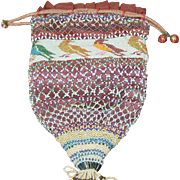 Vintage Beaded Handbag Bird Design 1890's