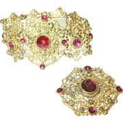 Antique Bracelet /Brooch Set Openwork Faux Rubies/Faux Pearls 1890's