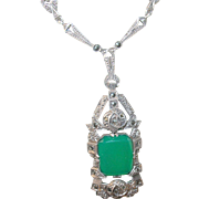 Vintage Coin Silver Pendant Necklace Marcasite/Green Onyx 1930's
