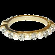 Vintage Les Bernard Hinged Bangle Faux Pearls/Rhinestones
