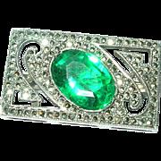 Art Deco Sterling Brooch Marcasite / Faux Emerald