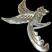 Vintage Sterling Lg Brooch Rooster