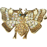 Vintage Carolee Butterfly Brooch Aurora Borealis
