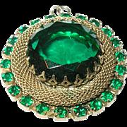 Vintage Gold Wash Pendant Faux Emerald